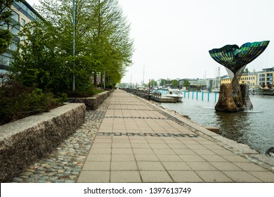 Turku, Finland, MAY 13th, 2019: a river view early by the river Aura in Turku Finland in in the morning spring