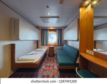 TURKU, FINLAND - MAY 31, 2018: Interior of A-class cabin for 4 persons on deck 5 of cruiseferry MS Baltic Princess of Tallink shipping company. The ship operates on the Turku-Mariehamn-Stockholm route