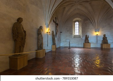 TURKU, FINLAND- November 02, 2013: Interiors and details of  Turku Castle. Medieval building in the city of Turku in Finland.