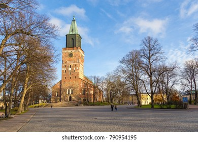 TURKU, FINLAND- November 02, 2013: Front side of Turku Cathedral in autumn. Turku Cathedral is the Mother Church of the Evangelical Lutheran Church of Finland.