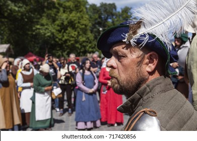 TURKU, FINLAND ON JUNE 30. Closeup view of actor´s face in the Medieval Market of Turku. Actors in the background on June 30, 2017 in Turku, Finland.