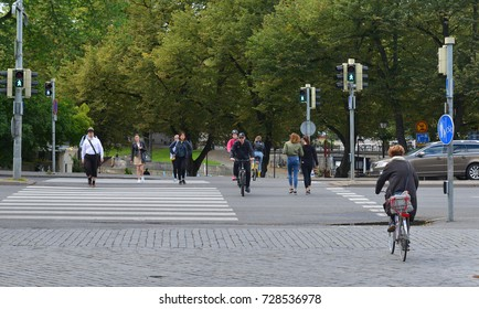 TURKU, FINLAND - SEPT 1, 2017: Zebra crossing