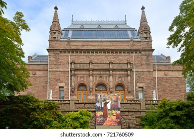 TURKU, FINLAND - SEPT 3, 2017: National Romantic granite building of Turku Art Museum is monument in itself. It was designed by Professor Gustaf Nystrom and, when it was completed in 1904