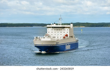 TURKU,FINLAND - AUG 27,2014:Finnlines is leading shipping operator of ro-ro, passenger services in Baltic and North Sea. It is part of Grimaldi Group, one of world's largest operators of ro-ro vessels