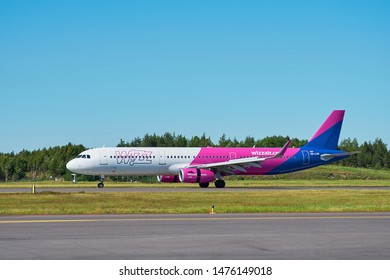 TURKU,FINLAND - JUNE 16, 2019: Wizz Air Airbus A 321 (HA-LXM) at Turku Airport landed from Gdansk, Poland.