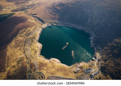 Turlough Hill, co. Wicklow / Ireland - October 2020 : Lough Nahanagan parto umped storage power station system, located in Wicklow Mountains. Environmentally-friendly project constructed in 1968.