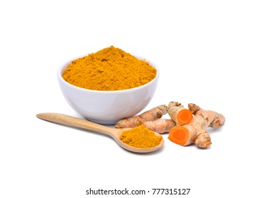 Turmeric (Curcuma longa Linn) powder in white bowl with rhizome isolated on white background