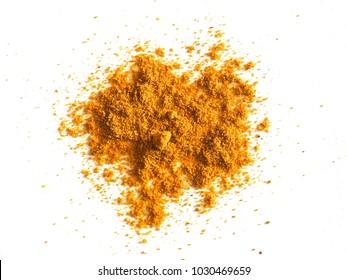 Turmeric (Curcuma longa) powder hot Indian spice over white background