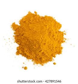 Turmeric (Curcuma) powder isolated on white background. Curry powder.