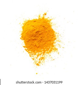 Turmeric (Curcuma) powder pile isolated on white background, top view