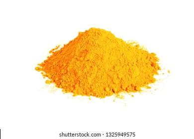turmeric or curcumin longa powder heap isolated on white background