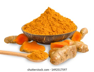 Turmeric (curcumin) powder in a wooden bowl and wooden spoon And turmeric roots isolated on white background,Used for cooking and as a herbal remedy.