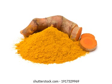 Turmeric (curcumin) rhizomes and powder isolated on a white background,Used for cooking.