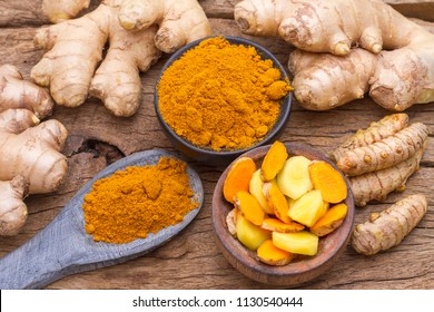 turmeric and ginger on the table
