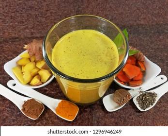 Turmeric latte, Ayurveda drink, (Gold Milk)