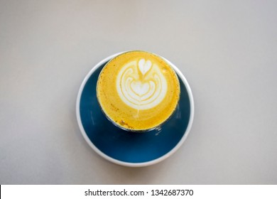 Turmeric latte in the cup