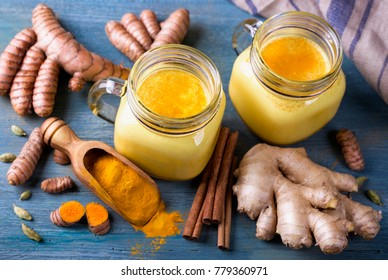 Turmeric Latte and fresh turmeric roots