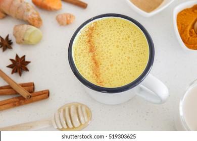 Turmeric latte, Golden milk , healthy hipster drink