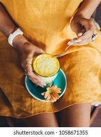 Turmeric latte yellow drink
