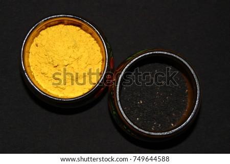 Turmeric Nigella Spices Wooden Round Pots Stock Photo (Edit
