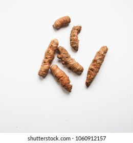 turmeric on a white background.