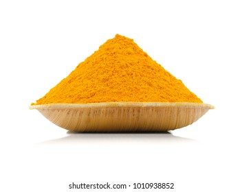 Turmeric Powder Also Called Haldi in india. Isolated on White Background