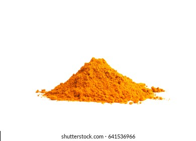 Turmeric powder (Curcuma) on white background. herbal