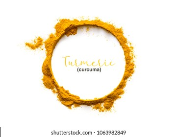 Turmeric powder. Turmeric  or Curcuma is the spice that gives curry its yellow color. It has been used in India for thousands of years as a spice and medicinal herb.