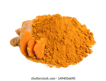 Turmeric powder and fresh turmeric (curcuma) isolated on white background,Used for cooking and as a Thai herbal remedy for flatulence,copy space.