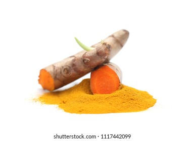 Turmeric powder and turmeric isolated on white background.