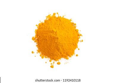 Turmeric powder isolated on white. Curcuma spice.