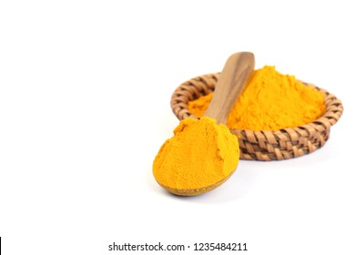 Turmeric powder isolated on white background.The popular Indian spice.