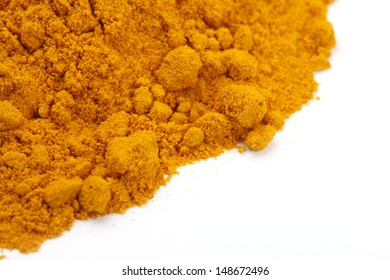 Turmeric Powder isolated on a white background.