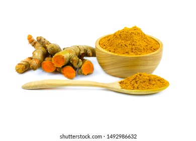 Turmeric powder and turmeric isolated on white background, indian spice, healthy seasoning ingredient for vegan cuisine concept.
