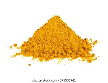 Turmeric powder isolated on white background. Curcuma powder.
