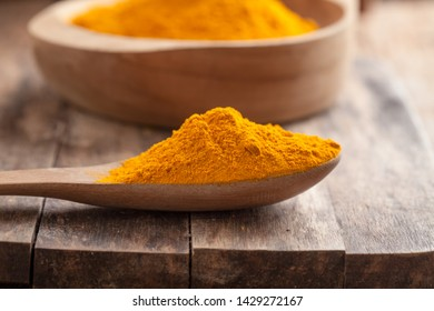 Turmeric powder on wooden background.with copy space.