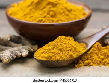 Turmeric powder on wooden spoon.