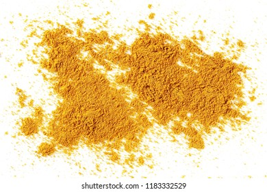Turmeric powder pile isolated on white background, top view, with clipping path
