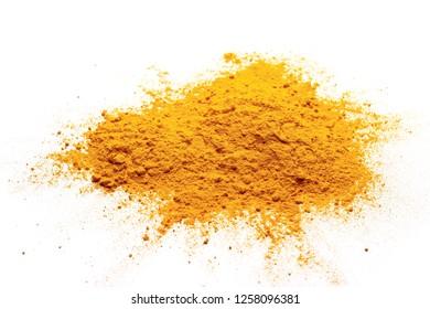 Turmeric powder pile isolated on white background