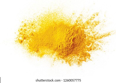 Turmeric powder pile isolated on white background, top view