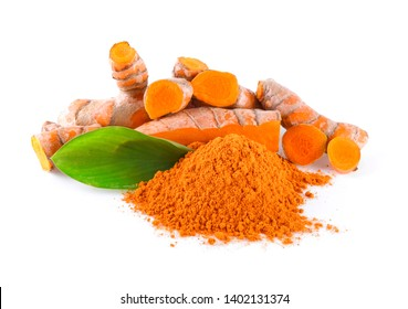 Turmeric powder and tumeric root isolated on white background