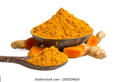 Turmeric powder in a wooden bowl and fresh turmeric (curcuma) isolated on white background,copy space.