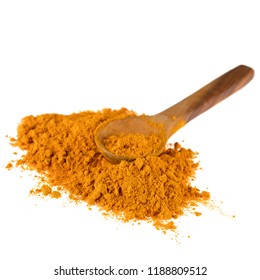 Turmeric powder with wooden spoon isolated on a white background