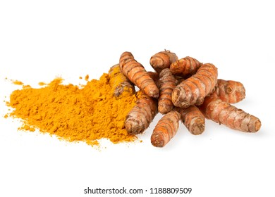 Turmeric root and powder isolated on a white background