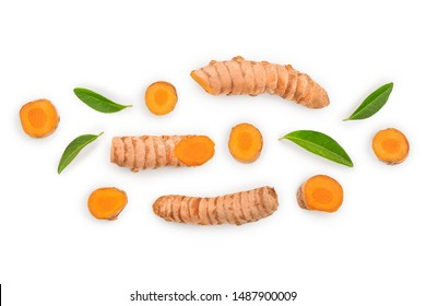 Turmeric root and slice isolated on white background. Top view. Flat lay