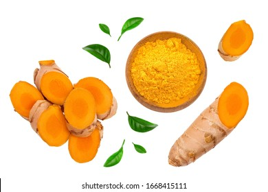 turmeric root slices isolated on white background. Top view. Flat lay