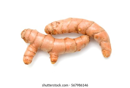Turmeric roots isolated on white background