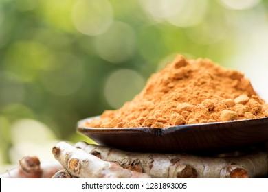 Turmeric, roots and powder have medicinal properties. (Natural bokeh background)
