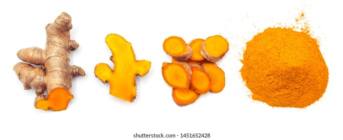 turmeric and slice with powder isolated on white background ,  top view.