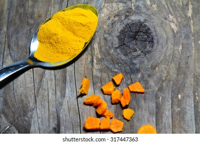 Turmeric in steel spoon